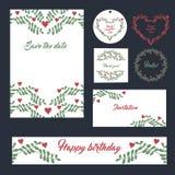 Do projeto ajustado dos artigos de papelaria do casamento cartões ajustados dos moldes Imagem de Stock Royalty Free