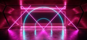 Do quadro escuro vibrante azul do retângulo do roxo do laser de Sci Fi corredor concreto lustroso de incandescência de néon caóti ilustração stock