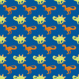 Do réptil pré-histórico animal patern sem emenda do caráter de Dino do monstro da ilustração do vetor do dinossauro dos desenhos  ilustração stock