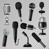 Do registro audio do rádio do estúdio do karaoke do registrador do mic da voz da música do som do vetor do microfone vintage foné Fotos de Stock
