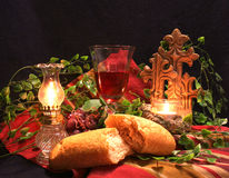 Do this in Rememberance. Communion Picture with bread and wine and candle and crosses Stock Photo