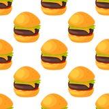 Do restaurante natural sem emenda do menu do teste padrão do fast food o produto e o Hamburger frescos da refeição dos desenhos a Imagem de Stock Royalty Free