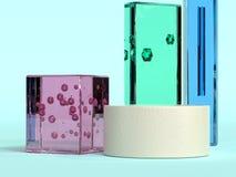 Do rosa transparente de vidro do material do quadrado rendição 3d azul verde ilustração do vetor