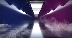 Do roxo azul branco vazio escuro estrangeiro futurista moderno do metal da reflexão do navio de Sci Fi corredor de incandescência ilustração royalty free