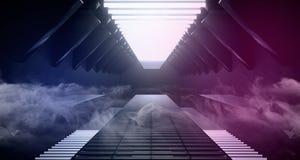 Do roxo azul branco vazio escuro estrangeiro futurista moderno do metal da reflexão do navio de Sci Fi corredor de incandescência ilustração stock