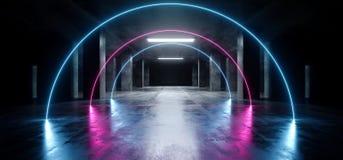 Do roxo de néon oval do laser do arco túnel concreto escuro moderno de incandescência azul de Asphalt Futuristic Spaceship Underg ilustração royalty free