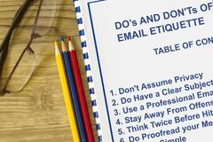 Do`s and don`ts of email etiquette concept. With table of contents Royalty Free Stock Photography