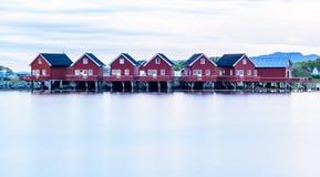 Do seascape escandinavo da paisagem do fiorde casas escandinavas vermelhas Imagem de Stock