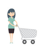 Do shopping. Woman going to the supermarket with a trolley to do her shopping Royalty Free Stock Images