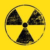 Do sinal fundo amarelo radioativo preto sobre imagens de stock royalty free