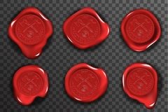 Do sinal vermelho do certificado do selo do selo da cera os ícones transparentes do modelo do fundo ajustaram a ilustração realís ilustração royalty free