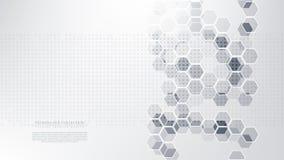 Do sistema futurista do Internet da tecnologia vetor abstrato sextavado do fundo imagens de stock