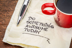 Do something awesome today on napkin Royalty Free Stock Images
