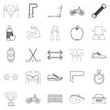 Do sport icons set, outline style. Do sport icons set. Outline set of 25 do sport vector icons for web isolated on white background Stock Photos
