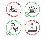 Receive file, Parking garage and Support icons set. Contactless payment sign. Vector. Do or Stop. Receive file, Parking garage and Support icons simple set royalty free illustration