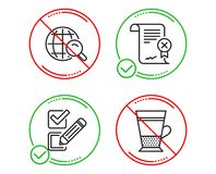 Reject certificate, Checkbox and Internet search icons set. Double latte sign. Vector vector illustration