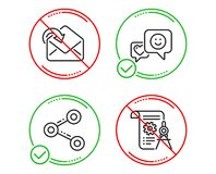 Smile, Share and Receive mail icons set. Divider document sign. Socila media, Follow network, Incoming message. Vector. Do or Stop. Smile, Share and Receive mail vector illustration