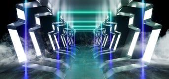 Do t?nel estrangeiro reflexivo lustroso moderno futurista virtual do corredor do corredor da entrada da nave espacial do metal de ilustração royalty free