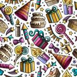 Do tema desenhado à mão do aniversário das garatujas dos desenhos animados teste padrão sem emenda Imagem de Stock