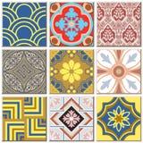 Do teste padrão retro do azulejo do vintage coleção ajustada 040 Imagem de Stock
