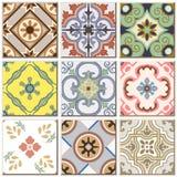 Do teste padrão retro do azulejo do vintage coleção ajustada 044 Fotos de Stock