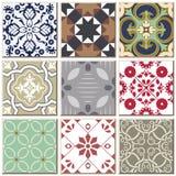 Do teste padrão retro do azulejo do vintage coleção ajustada 038 Imagem de Stock Royalty Free