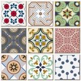 Do teste padrão retro do azulejo do vintage coleção ajustada 041 Fotos de Stock
