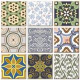 Do teste padrão retro do azulejo do vintage coleção ajustada 043 Imagem de Stock