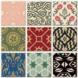 Do teste padrão retro do azulejo do vintage coleção ajustada 054 Imagens de Stock
