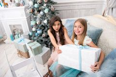 Do it together. Child enjoy the holiday. Happy new year. Winter. xmas online shopping. Family holiday. Christmas tree stock image