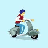 Do 'trotinette' bonde do velomotor do passeio do homem transporte bonde retro ilustração stock