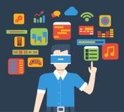 Do uso de vidro da relação da realidade virtual de VR vetor isométrico liso ilustração do vetor