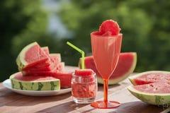 Do verão do fruto vida ainda, frescor natural da melancia Fotos de Stock Royalty Free