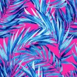 Do verão tropical das folhas da aquarela teste padrão sem emenda ilustração stock