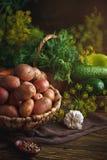 Do verão vida ainda de vegetais e do aneto maduros Foto de Stock