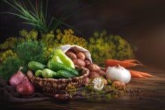 Do verão vida ainda de vegetais e do aneto maduros Imagens de Stock Royalty Free