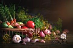 Do verão vida ainda de vegetais e do aneto maduros Imagem de Stock