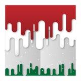 Do verde vermelho da neve do fundo do Xmas bandeira de papel líquida do vetor fotografia de stock