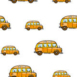 Do vetor brilhante do ônibus dos desenhos animados do bebê teste padrão sem emenda no fundo branco Fotografia de Stock