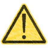 Do vetor de advertência da etiqueta do sinal do triângulo do cuidado sinal amarelo do triângulo com marca de exclamação, desenhos ilustração stock
