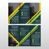 Do vetor dobrável em três partes do molde do relatório do inseto do folheto do folheto do negócio do verde amarelo grupo liso mín ilustração stock