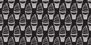 Do vetor doce dos doces da melancia da baunilha do chocolate do copo do waffle do cone de gelado o teste padrão sem emenda torcid Fotografia de Stock