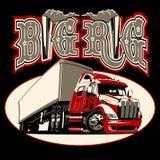 Do vetor dos desenhos animados caminhão semi com o cartaz da rotulação do vintage ilustração stock
