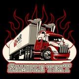 Do vetor dos desenhos animados molde do caminhão semi ilustração do vetor