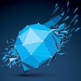 Do vetor objeto destruído poli azul assimétrico abstrato baixo com dif Fotografia de Stock
