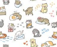 Do vetor pequeno bonito do gato da garatuja teste padr?o sem emenda ilustração do vetor