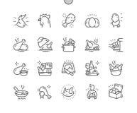 Do vetor perfeito bem feito do pixel da galinha linha fina grade 2x dos ícones 30 para gráficos e Apps da Web ilustração stock