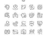 Do vetor perfeito bem feito do pixel da navegação linha fina grade 2x dos ícones 30 para gráficos e Apps da Web Imagens de Stock