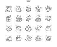 Do vetor perfeito bem feito do pixel das refeições das crianças linha fina grade 2x dos ícones 30 para gráficos e Apps da Web ilustração royalty free