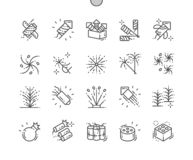 Do vetor perfeito bem feito do pixel do fogo de artifício linha fina grade 2x dos ícones 30 para gráficos e Apps da Web ilustração royalty free